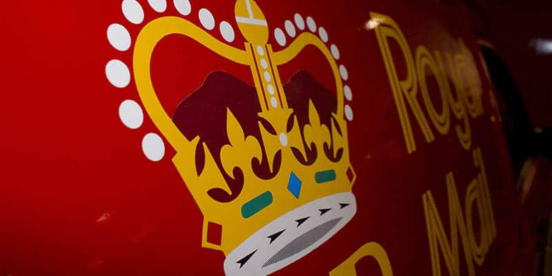 Royal Mail Crown logo on side of delivery van