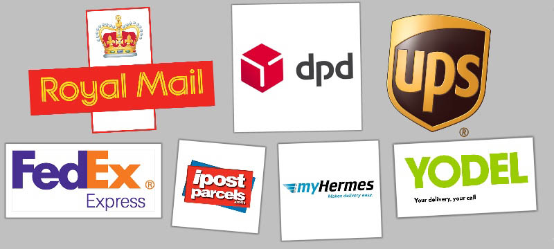 Logos of main delivery services used at Bleyer including DPD, Royal Mail, UPS,FedEx, MyHermes, Yodel