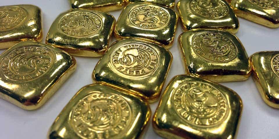 An assortment of cast Gold Bullion squares