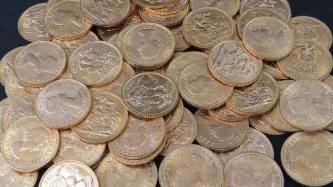 Gold sovereign coins each worth £200 each