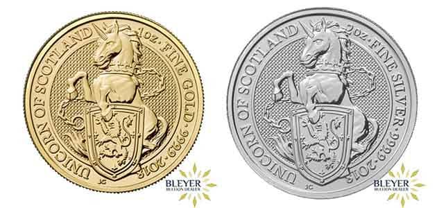 The new 2oz Silver and 1oz Gold Queen's Beasts Unicorn bullion coin is now available at Bleyer