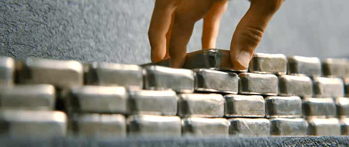 Silver Bullion Bars stacked up high