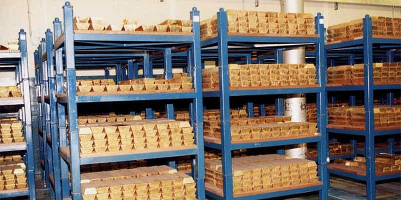Gold stored at the Bank of England