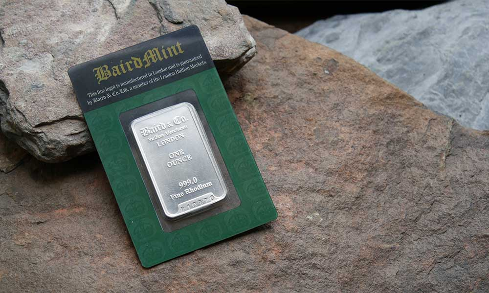 1oz Baird & Co Rhodium Bar available from Bleyer