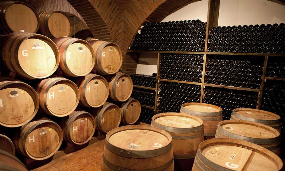 Fine wine stored in a cellar