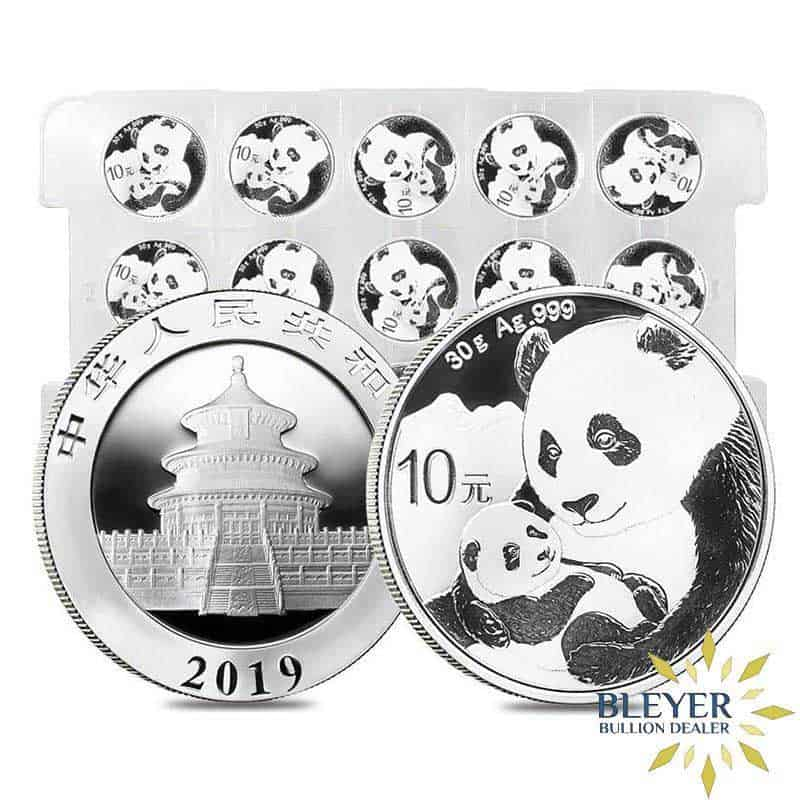 Front and back design of 30g Silver Chinese Panda Coin, 2019