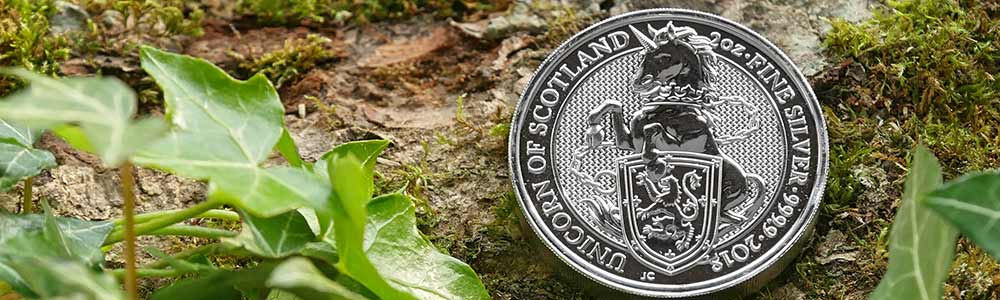 Two ounce Silver Queen's Beasts Unicorn Coins are produced by The Royal Mint