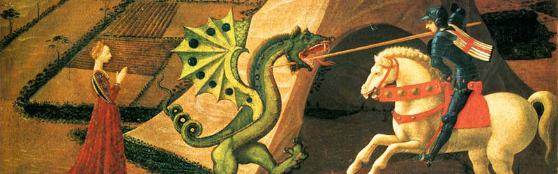Old painting of Saint George slaying a dragon
