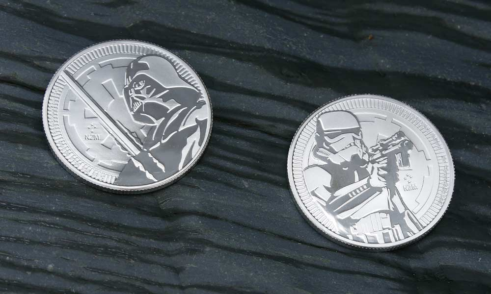 1oz Silver Star Wars Darth Vader and Storm Trooper coins