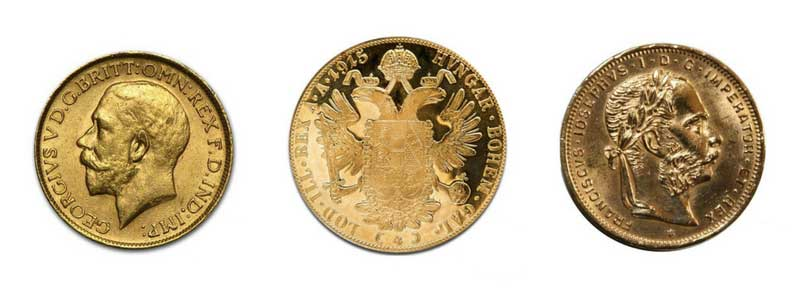 Gold bullion sovereigns and ducat