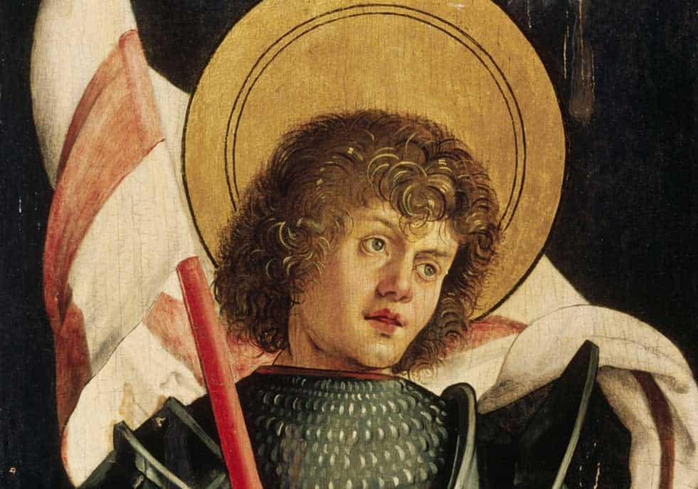 Painting of Saint George holding the Cross of Saint George Flag