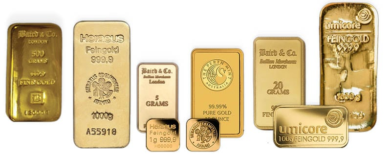 Assortment of Gold bullion bars are perfect for wedding gifts