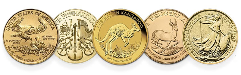 Assortment of 1oz Gold bullion coins are perfect for wedding gifts