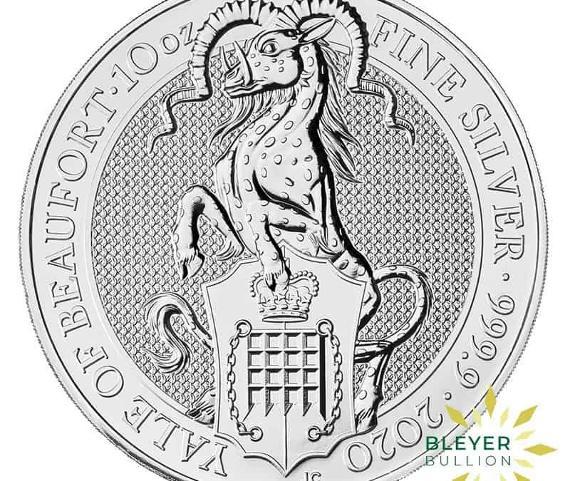 10oz Silver UK Queen's Beasts Yale of Beaufort Coin, 2020