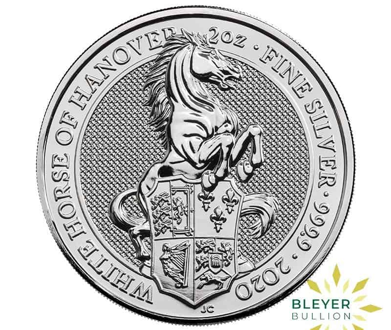 2oz Silver UK Queen's Beast White Horse of Hanover Coin, 2020