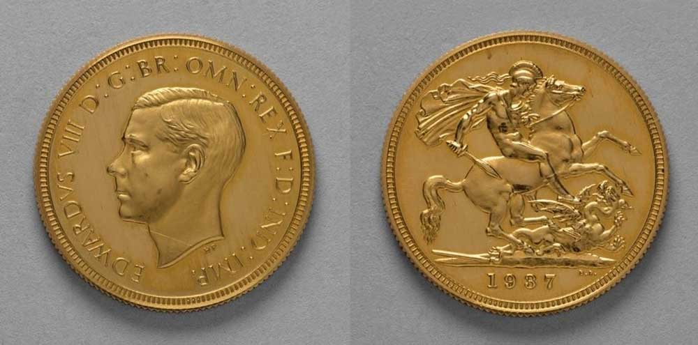 Edward VIII Sovereign Coin Front and back