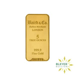 Bleyers Bar 5oz Baird Co Minted Gold Bar1 300x300 1