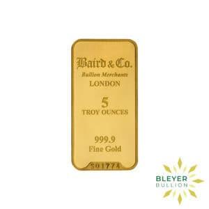 Bleyers Bar 5oz Baird Co Minted Gold Bar1 300x300 1