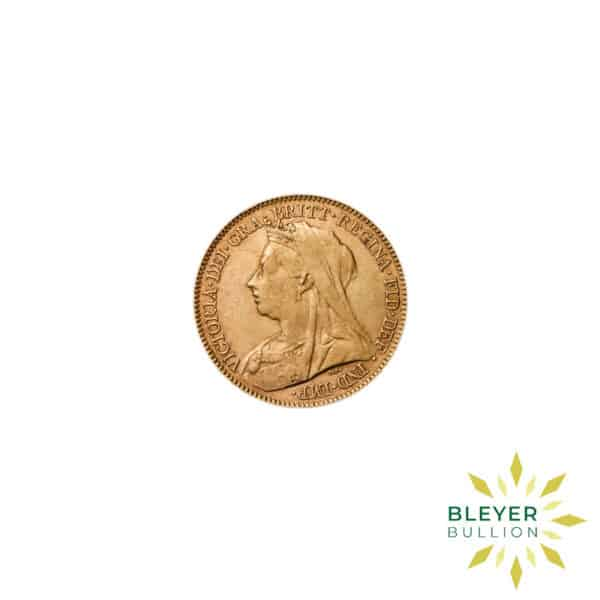 Bleyers Coin Cutouts Gold UK Sovereign Coins UK Gold Half Sovereign – Queen Victoria – Veiled Head Back