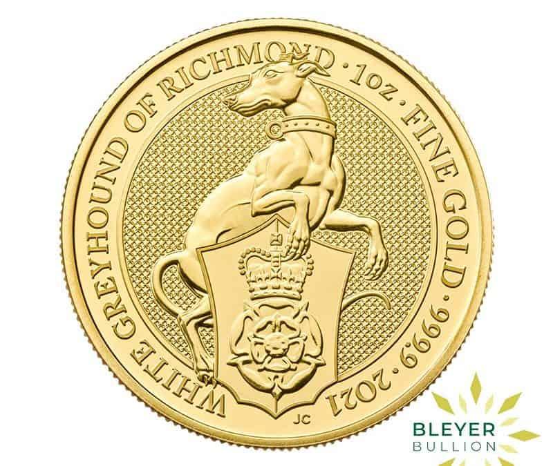 1oz Gold UK Queen's Beasts White Greyhound Of Richmond Coin, 2021