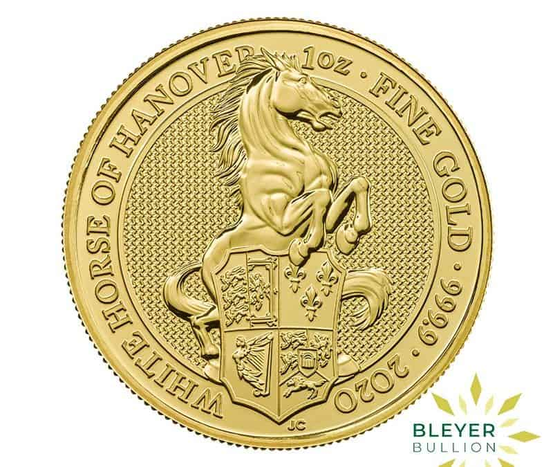 1oz Gold UK Queen's Beasts White Horse of Hanover Coin, 2020