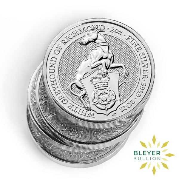 Bleyers Coin 2oz Silver UK Queens Beast The White Greyhound Of Richmond Coin 2021 4