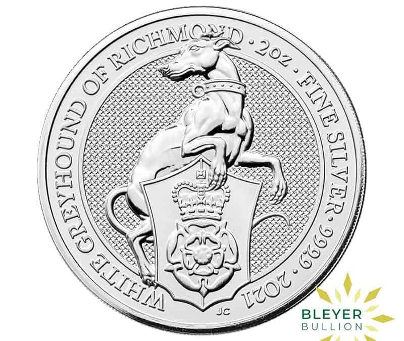 2oz Silver UK Queen's Beast White Greyhound Of Richmond Coin, 2021