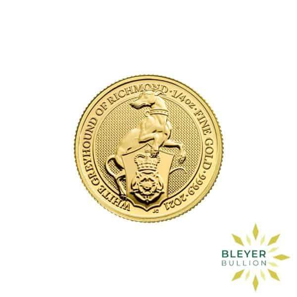 Bleyers Coins 1 4oz Gold UK Queens Beasts Greyhound 2021 1