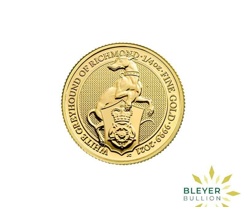 1/4oz Gold UK Queen's Beasts White Greyhound Of Richmond Coin, 2021