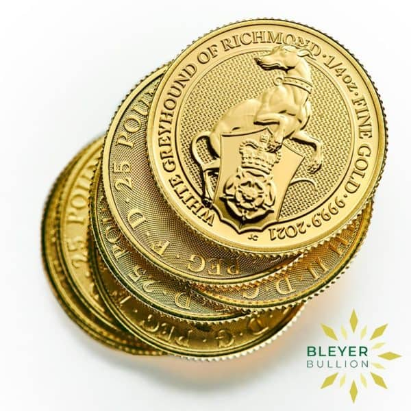 Bleyers Coins 1 4oz Gold UK Queens Beasts Greyhound 2021 4