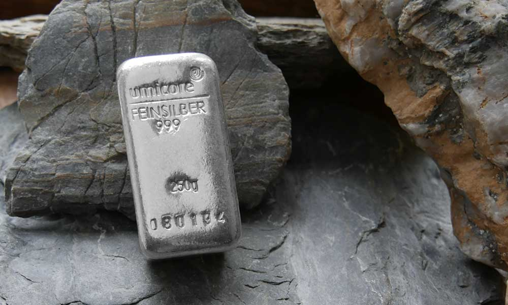 250g Umicore Silver Bar available from Bleyer