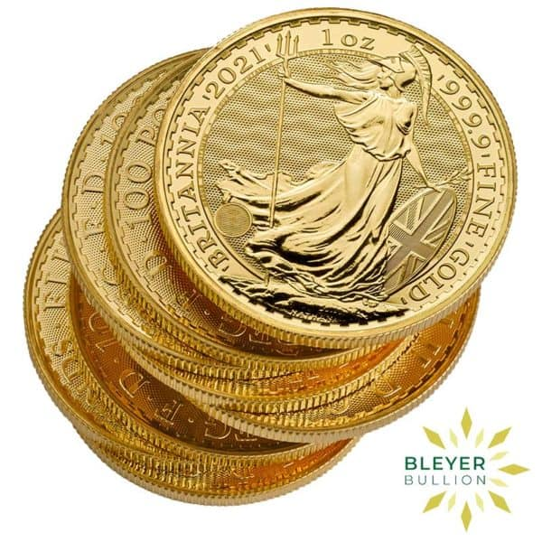 Bleyers Coin Cutouts 2021 Gold UK Britannia Coins 1oz Messy Stack