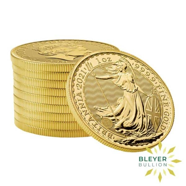 Bleyers Coin Cutouts 2021 Gold UK Britannia Coins 1oz Stack
