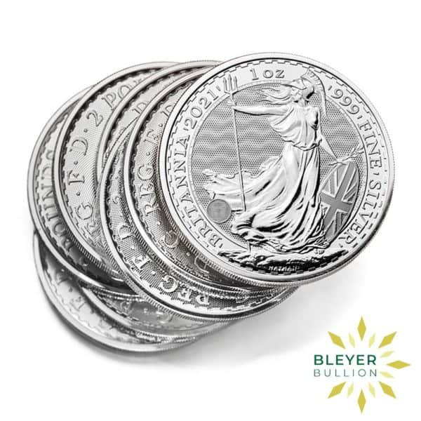 Bleyers Coin Cutouts 2021 Silver UK Britannia Coins 1oz Messy Stack