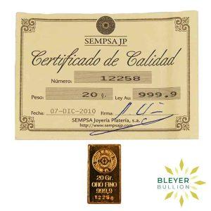 Bleyers Bar 20g Sempsa Gold Bar Minted 1