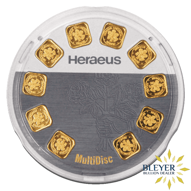 Heraeus MultiDisk - 10x 1g Gold Bars