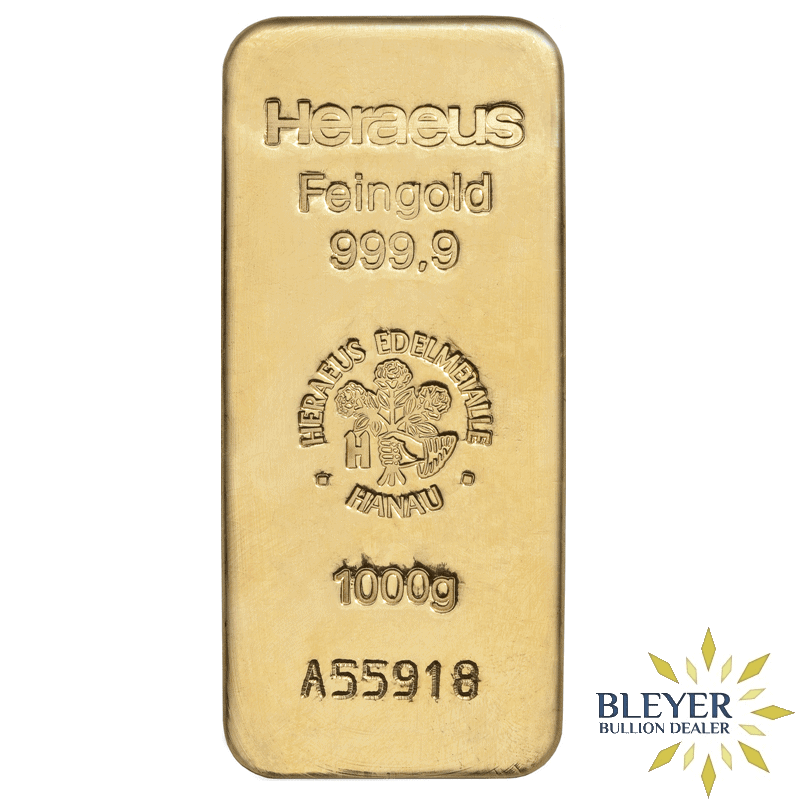 1kg Heraeus Cast Gold Bar