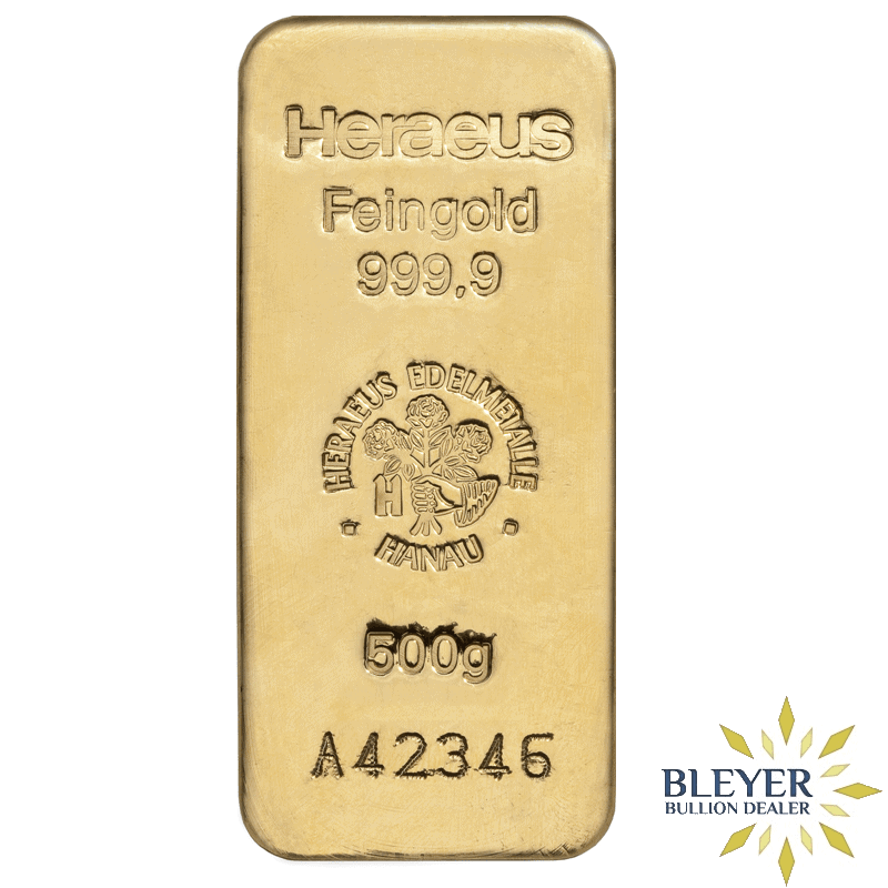 500g Heraeus Cast Gold Bar