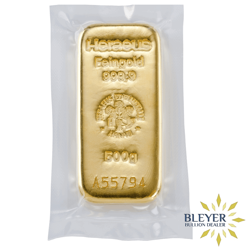 500g Heraeus Cast Gold Bar