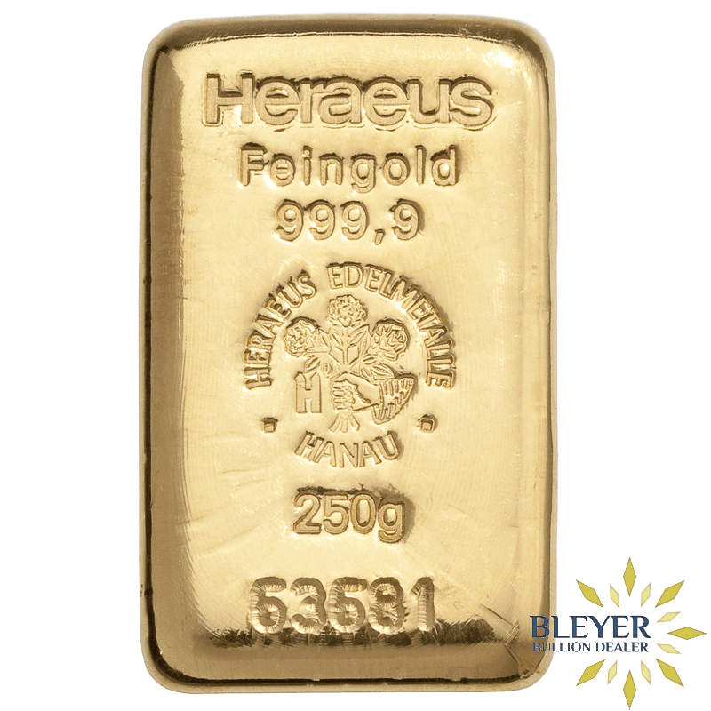 250g Heraeus Cast Gold Bar