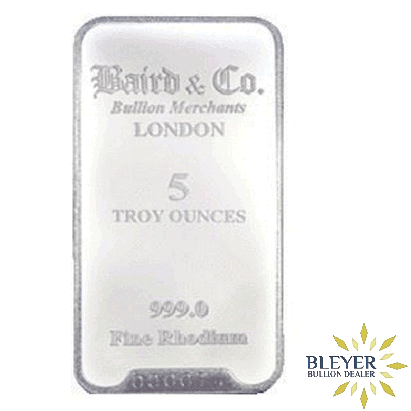 5oz Baird & Co Minted Rhodium Bar