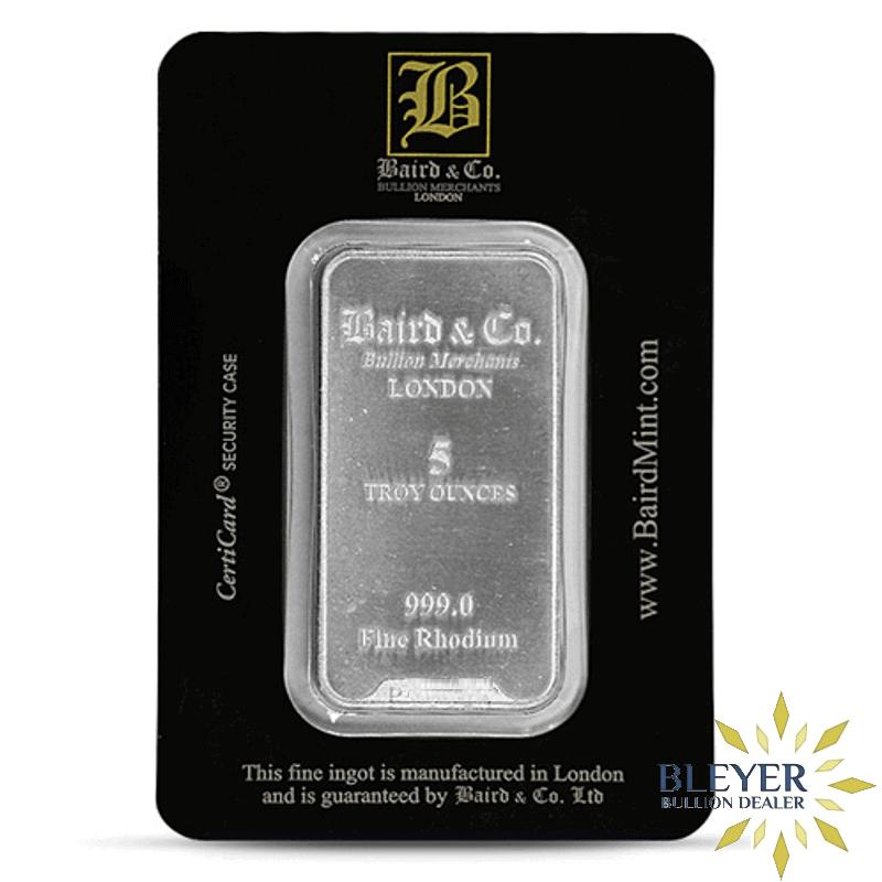 5oz Baird & Co Minted Rhodium Bar