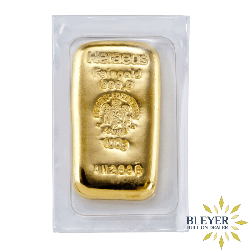 100g Heraeus Cast Gold Bar