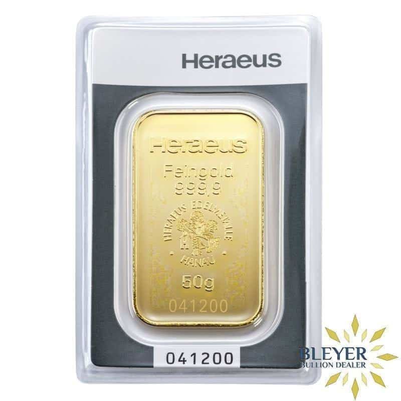 50g Heraeus Minted Gold Bar