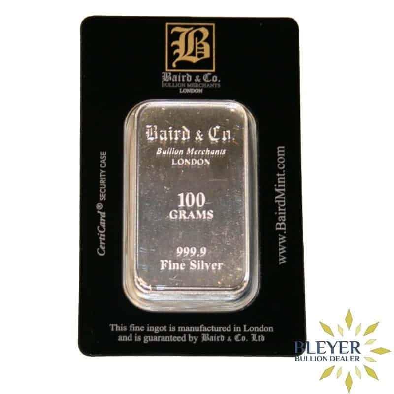 100g Baird & Co Minted Silver Bar