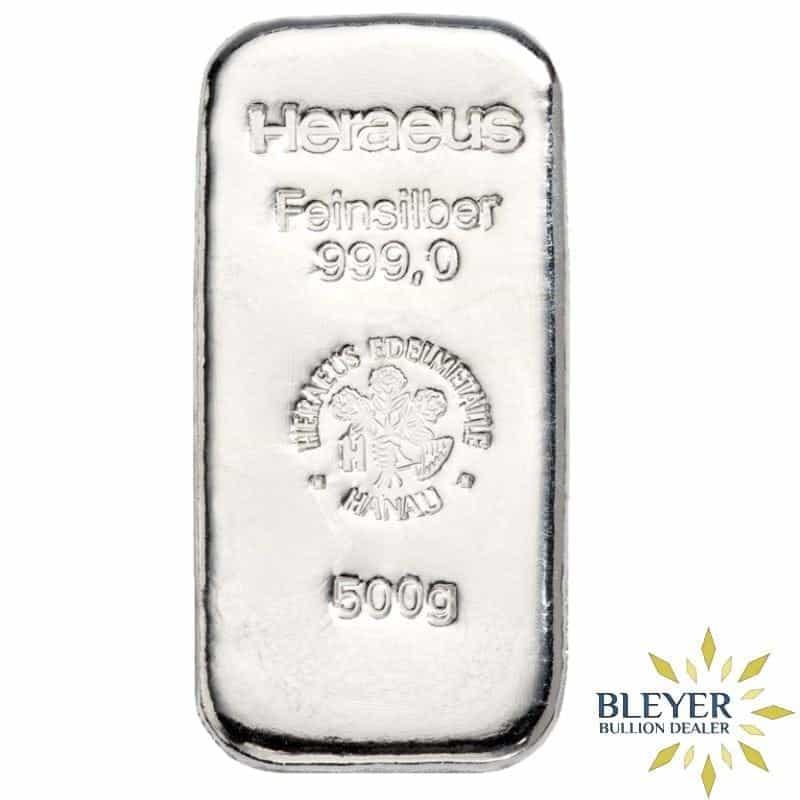 500g Heraeus Cast Silver Bar