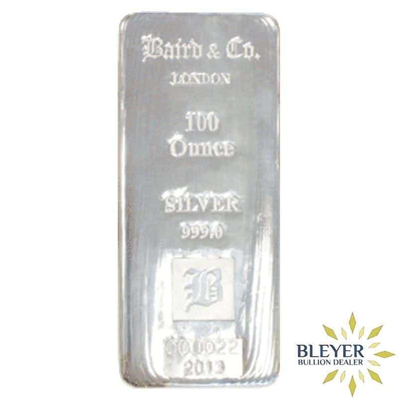 100oz Baird & Co Cast Silver Bar