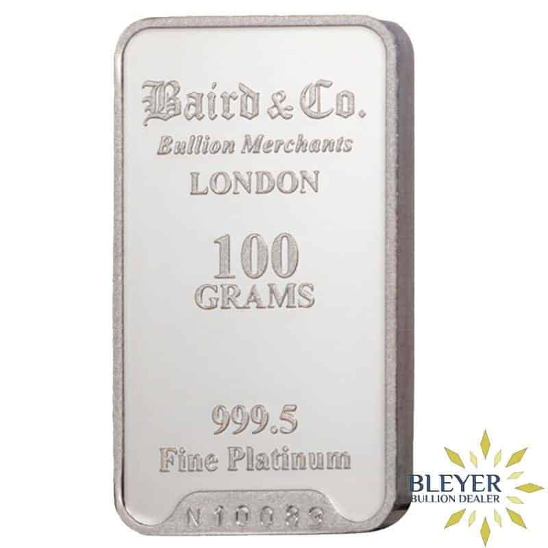 100g Baird & Co Minted Platinum Bar