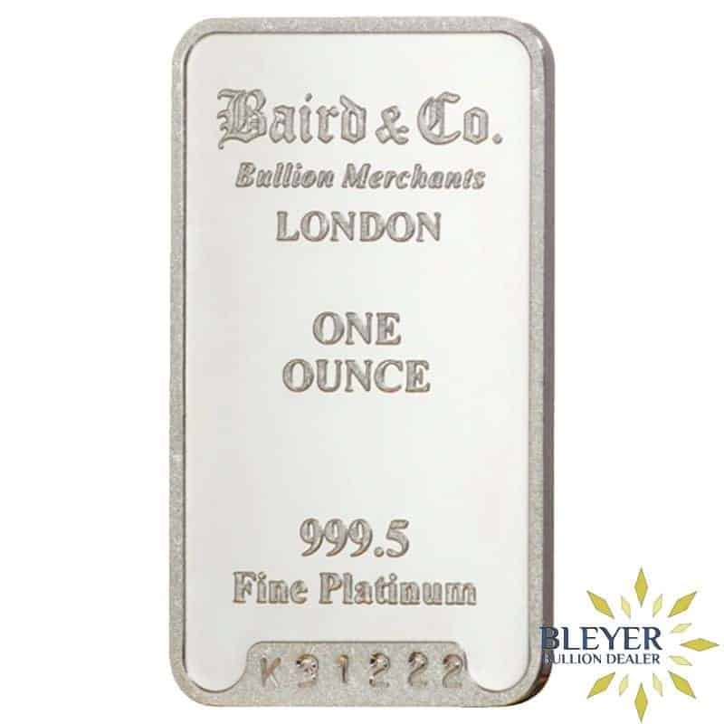 1oz Baird & Co Minted Platinum Bar