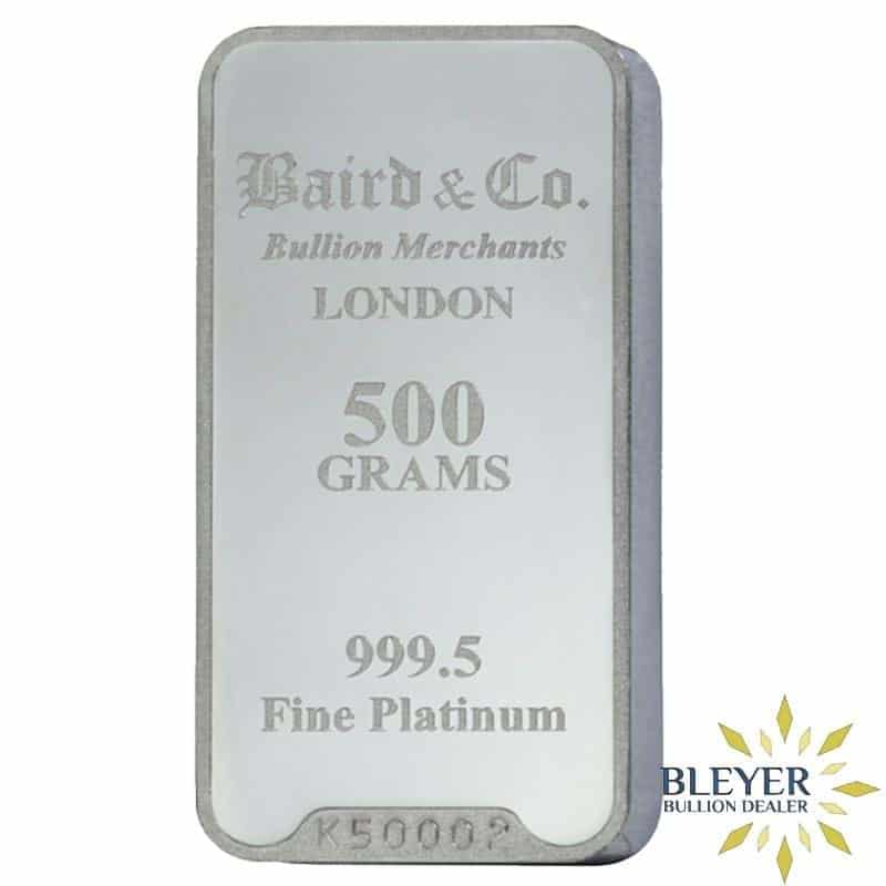 500g Baird & Co Minted Platinum Bar